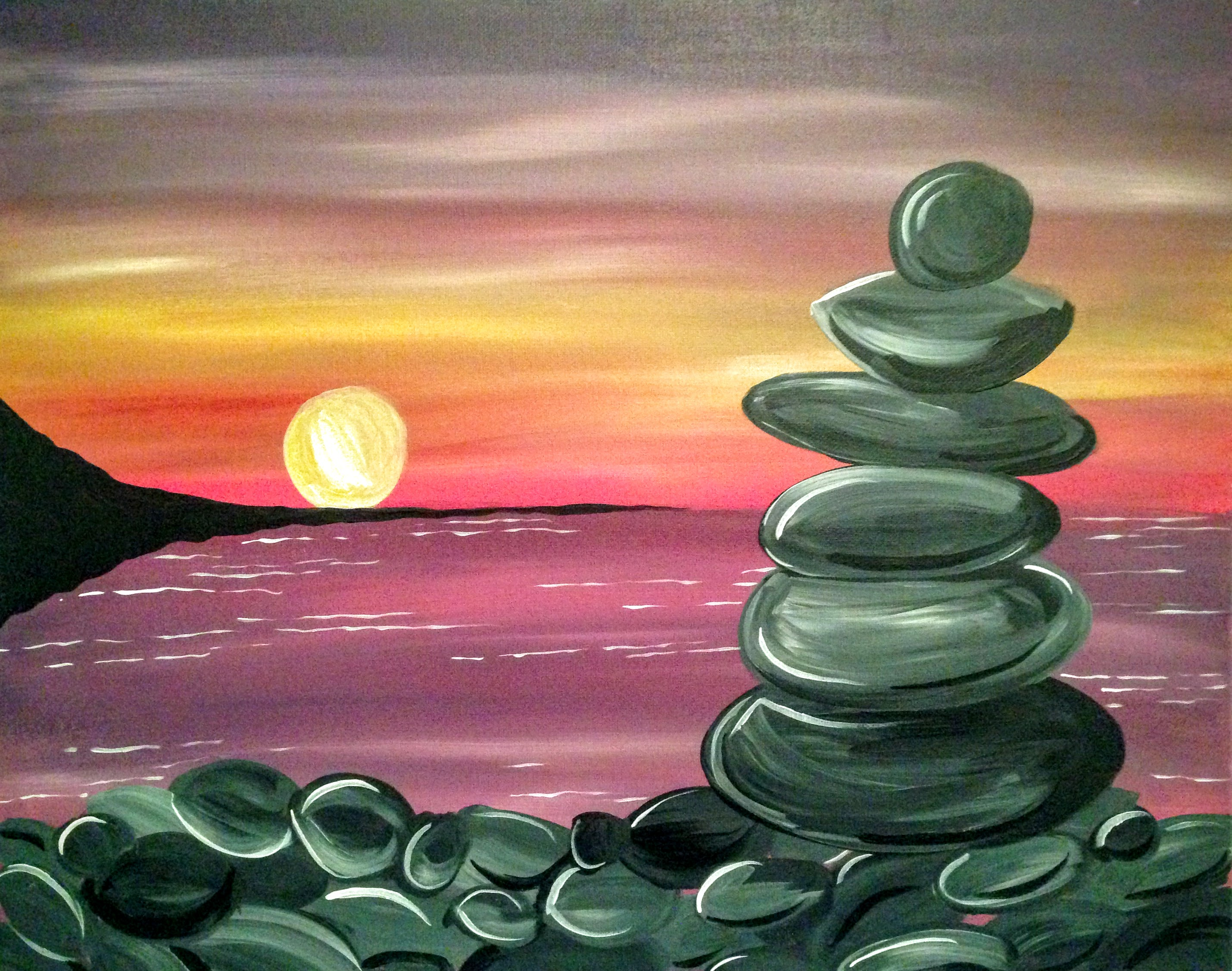A Peaceful Nite paint nite project by Yaymaker