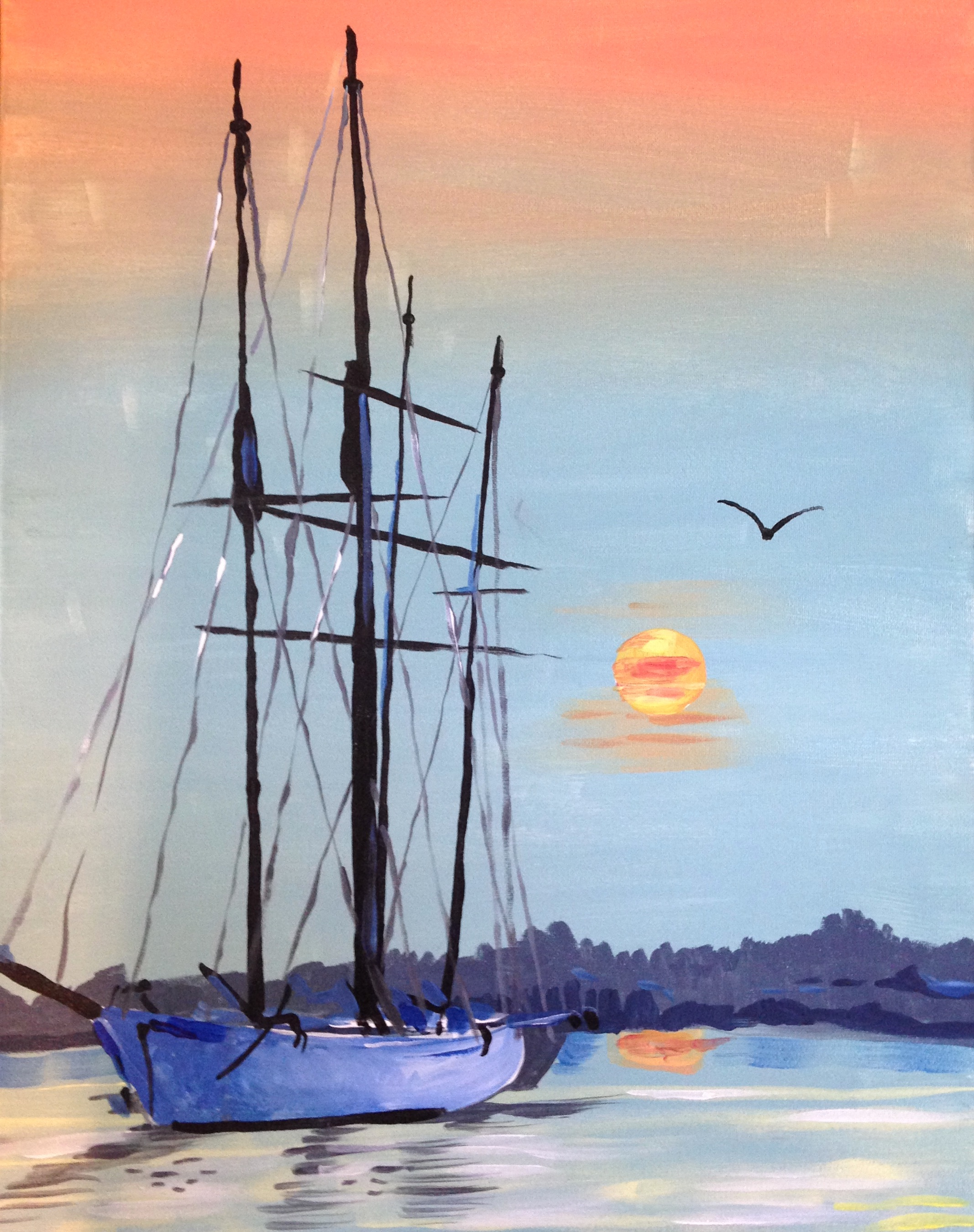 A Sailing Takes Me Away paint nite project by Yaymaker