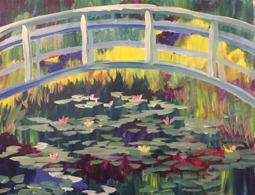 A Impressionist Monet Bridge Over Lilies paint nite project by Yaymaker