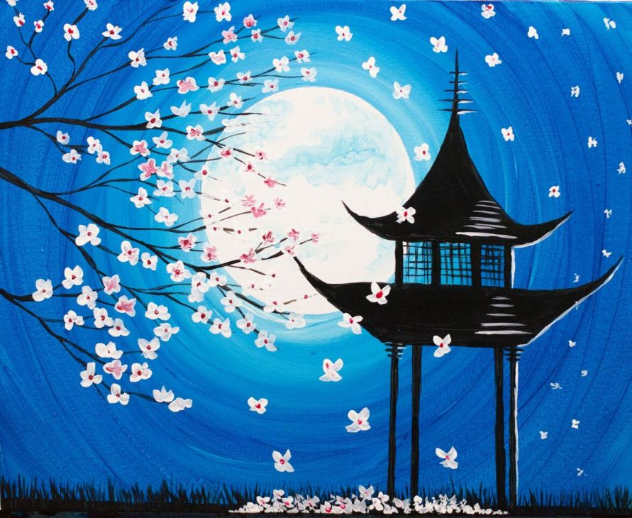 A Moonlit Blossoms by the Pagoda paint nite project by Yaymaker