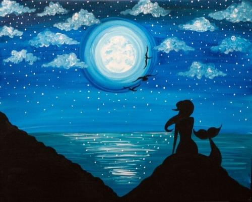 A Moonlit Mermaid II paint nite project by Yaymaker