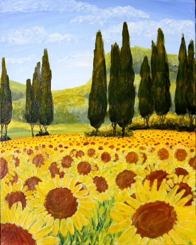 A Sunflower Fields Forever paint nite project by Yaymaker