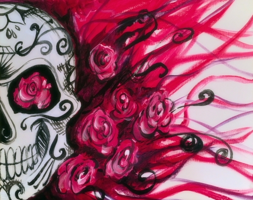 A Calavera Sugar Skull Roses paint nite project by Yaymaker