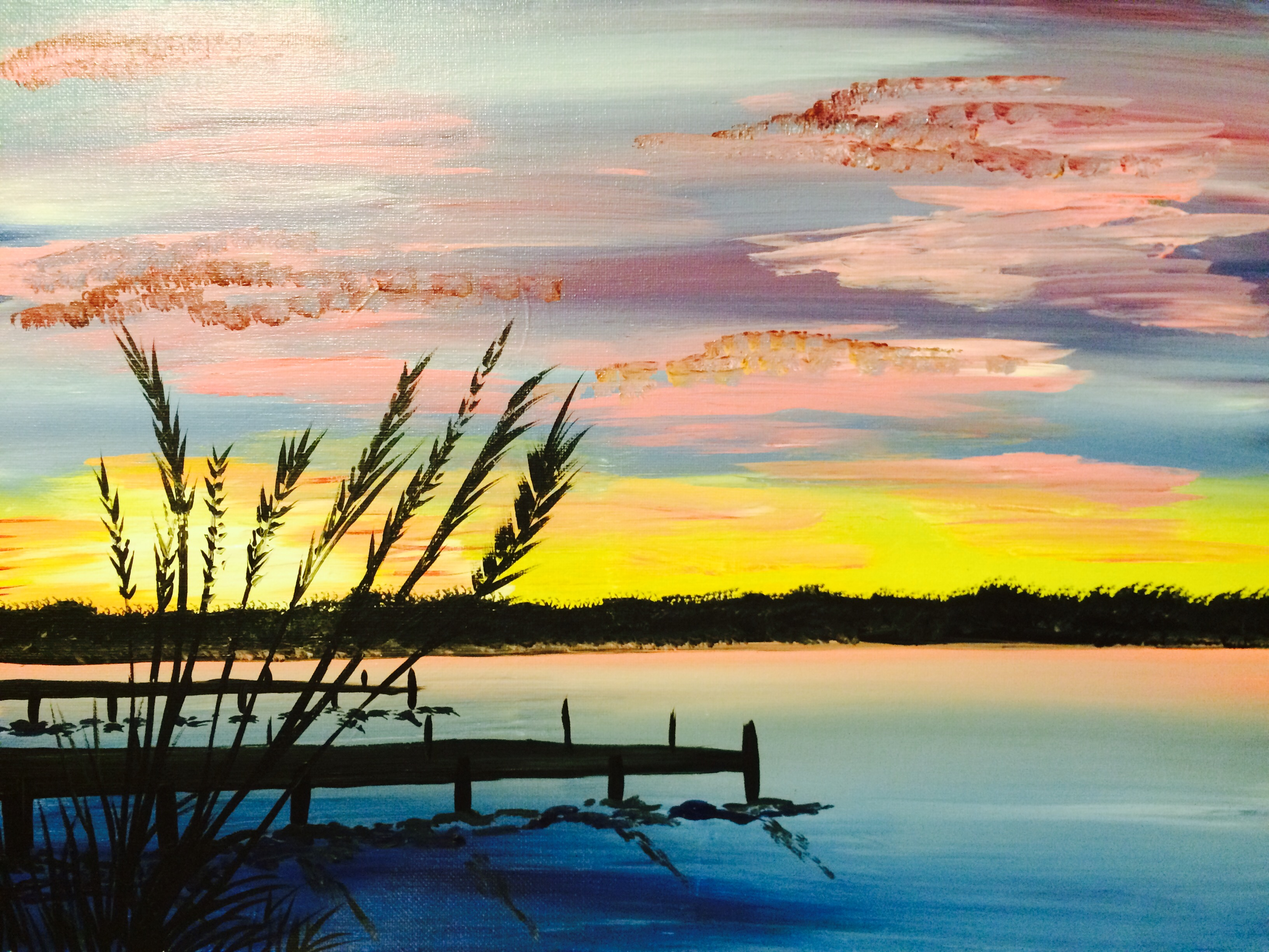 A Sunset by the Dock paint nite project by Yaymaker