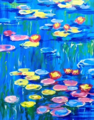 A Monets Vibrant Lily Pads paint nite project by Yaymaker