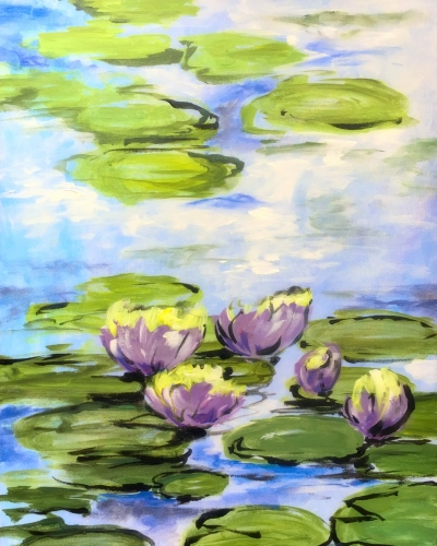 A Monets Muted Lily Pads paint nite project by Yaymaker