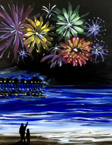 A Fireworks at the Pier paint nite project by Yaymaker