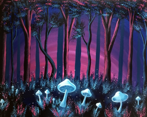 A Mushroom Forest paint nite project by Yaymaker