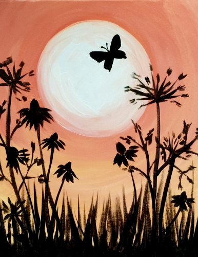 A Peach Sky And A Butterfly paint nite project by Yaymaker