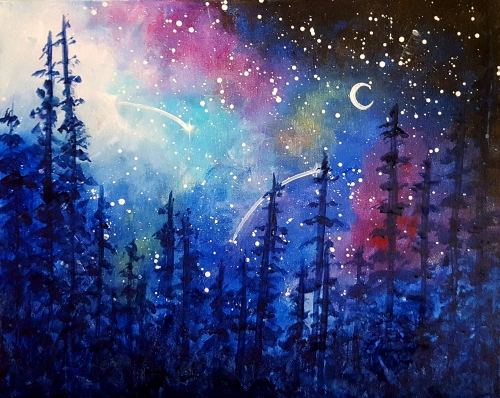 A Galaxy in the Pines paint nite project by Yaymaker