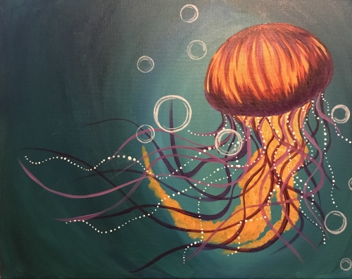 A Jellyfish dreams paint nite project by Yaymaker