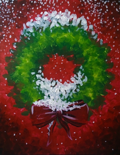 A A Christmas Wreath paint nite project by Yaymaker