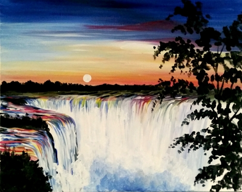 A Waterfalls and Sunset paint nite project by Yaymaker