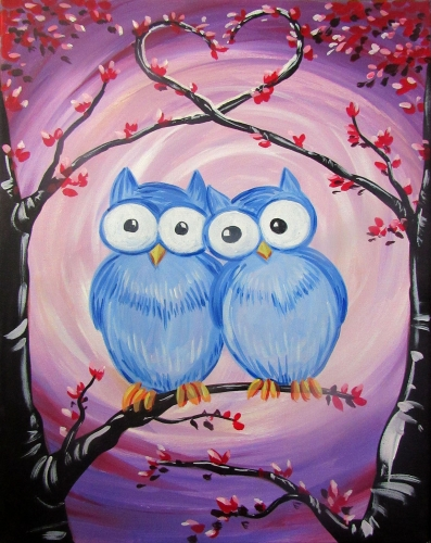 A Owl of Me Owl of You paint nite project by Yaymaker