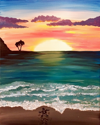 A Sea Turtle Sunrise paint nite project by Yaymaker