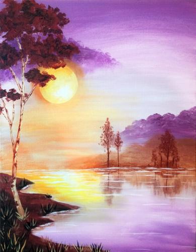 A Sunrise Lake paint nite project by Yaymaker
