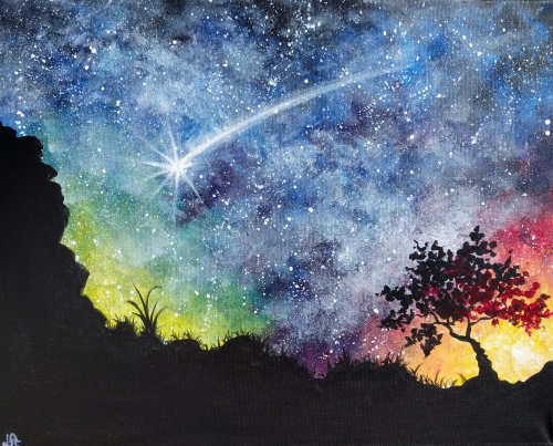 A Starry Desert Night paint nite project by Yaymaker