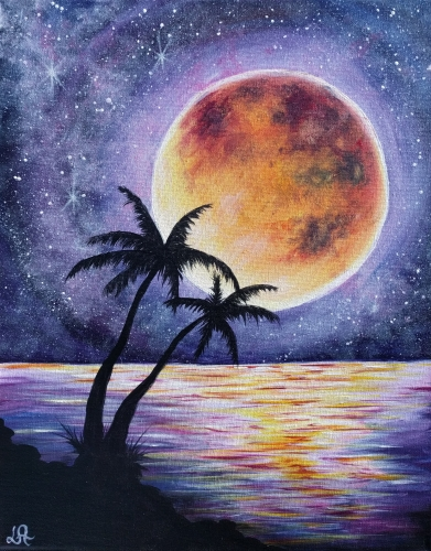 A Starry Moonlit Palms paint nite project by Yaymaker