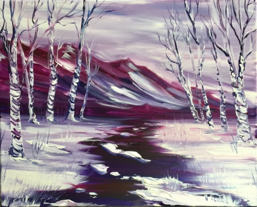 A Springtime Thaw in the Mountains paint nite project by Yaymaker
