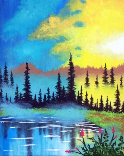 A Misty Morning Lake paint nite project by Yaymaker