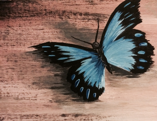 A Cool Blue Butterfly paint nite project by Yaymaker
