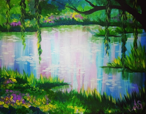 A Impressionist Spring Lake paint nite project by Yaymaker