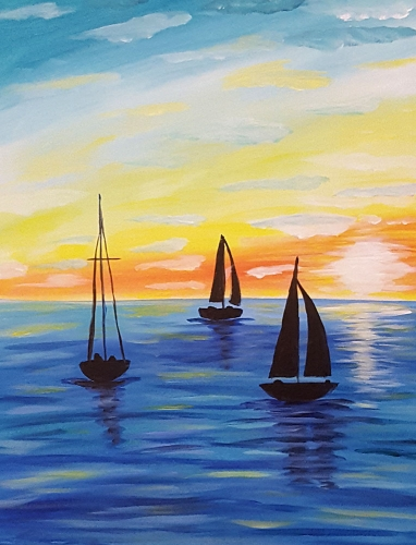 A Morning Sailboats paint nite project by Yaymaker