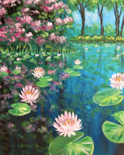 A Lily Pond Reflections paint nite project by Yaymaker