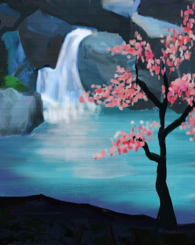 A Cherry Blossom Waterfall paint nite project by Yaymaker