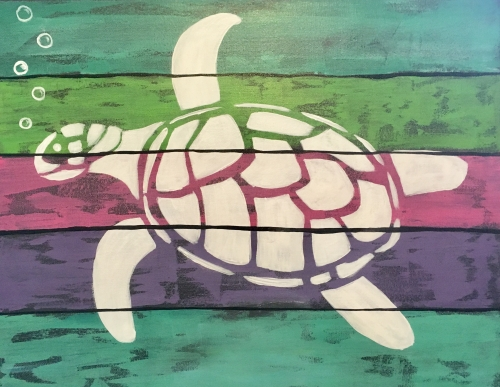 A Shimmering Sea Turtle paint nite project by Yaymaker