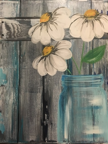 A Barnyard Daisies paint nite project by Yaymaker