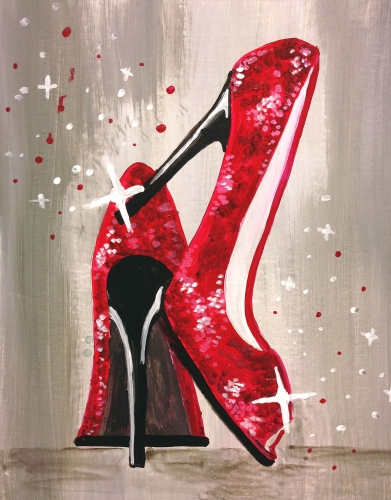 A Lets Dance in Red Sparkling Shoes paint nite project by Yaymaker