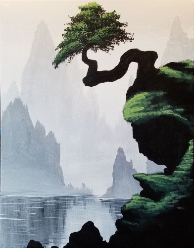 A Bonsai Cliffs paint nite project by Yaymaker