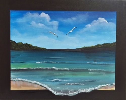 A Surreal Beach paint nite project by Yaymaker