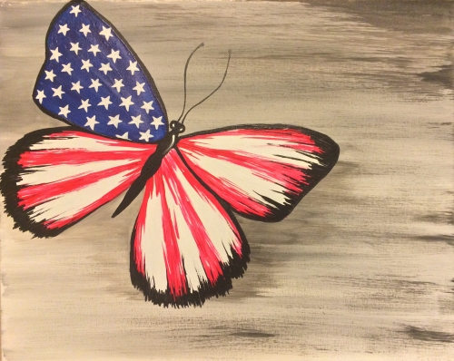 A Patriotic Butterfly paint nite project by Yaymaker