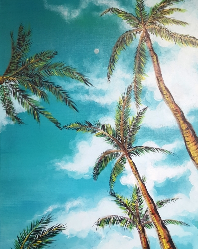 A Under the Palm Trees paint nite project by Yaymaker