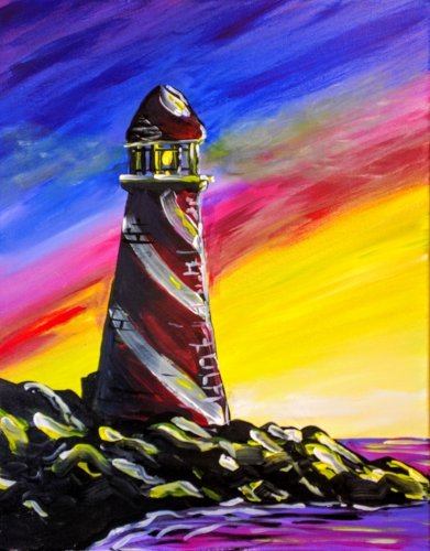 A Colorful Lighthouse paint nite project by Yaymaker