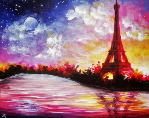 A Cloudy Paris Sunset paint nite project by Yaymaker