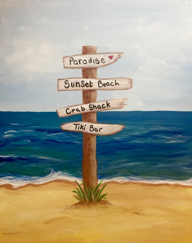 A Easy Breezy Beach Sign paint nite project by Yaymaker