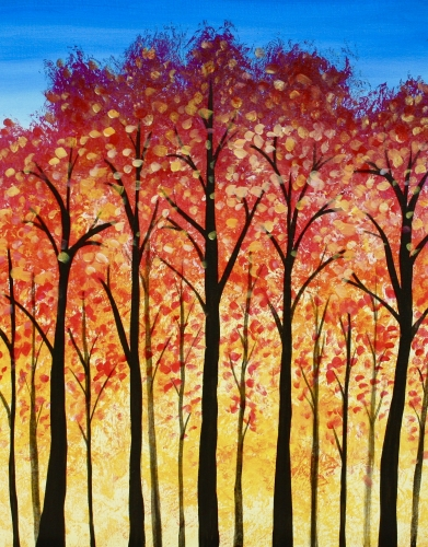 A Bright Fall Trees paint nite project by Yaymaker