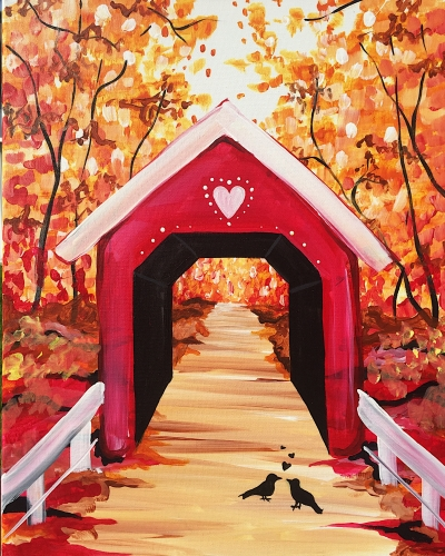 A Love Birds Under Covered Bridge paint nite project by Yaymaker
