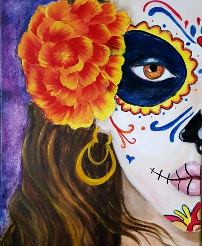 A Day of the Dead Calavera Sugar Skull paint nite project by Yaymaker