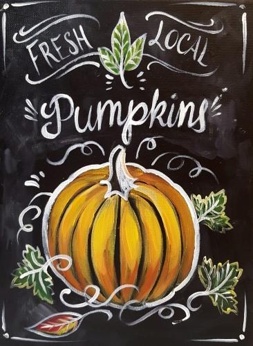 A Chalkboard Pumpkin paint nite project by Yaymaker