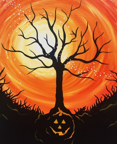 A Halloween Tree paint nite project by Yaymaker