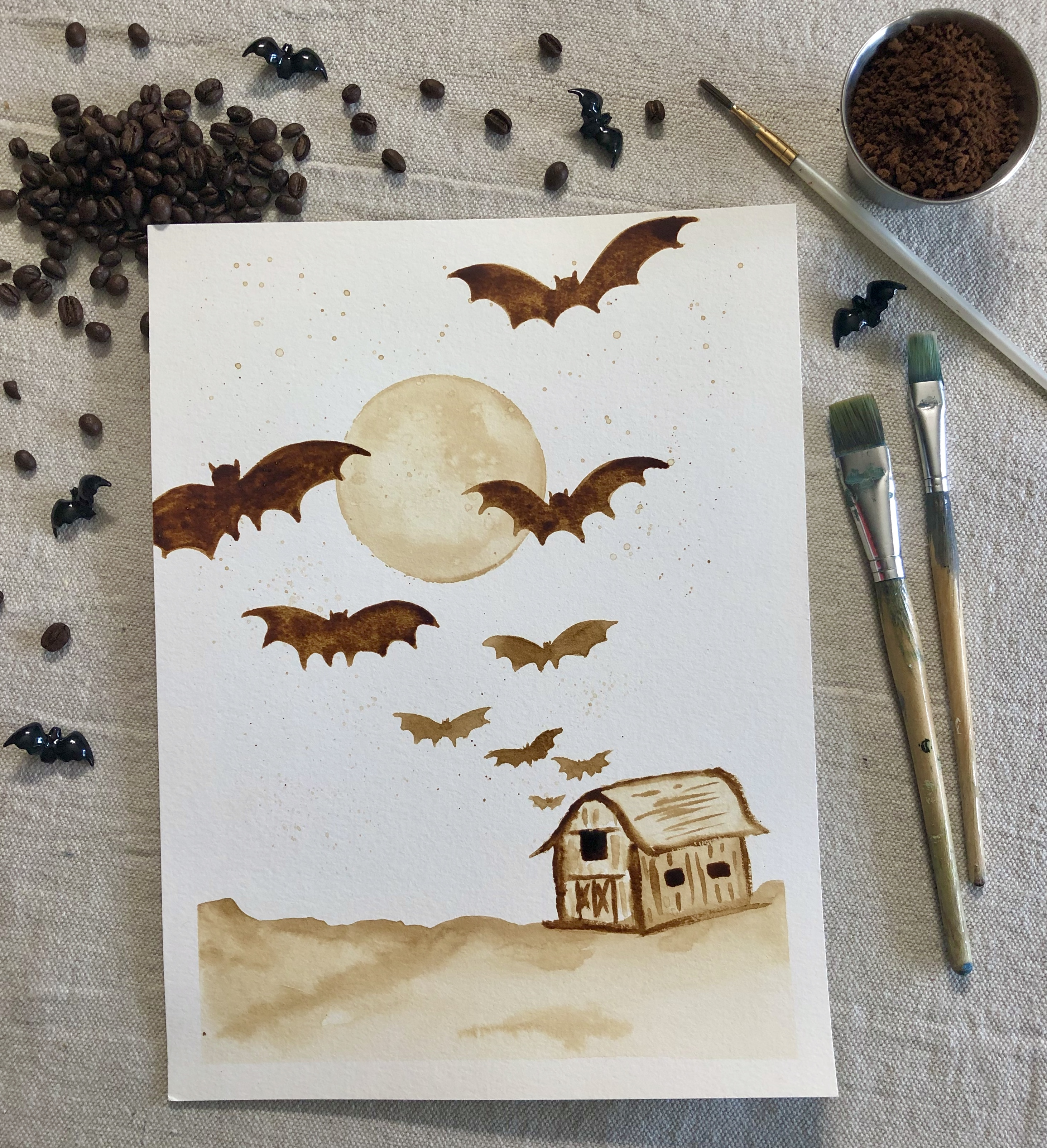 A Bats Out of the Barn  Instant Coffee Painting experience project by Yaymaker