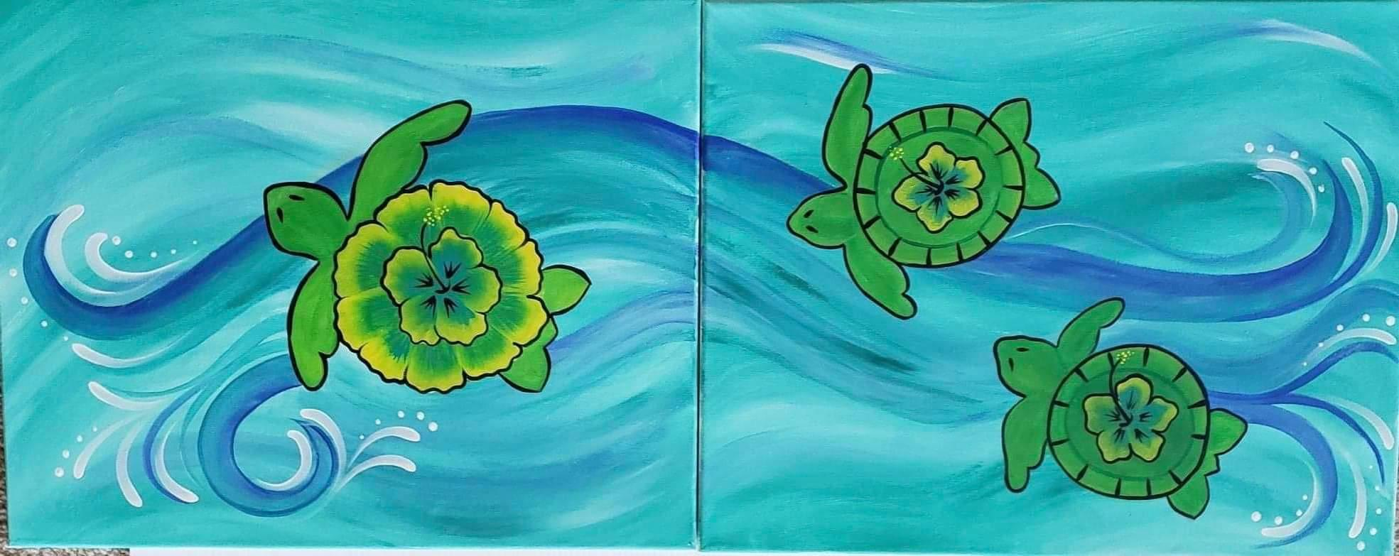 A Follow me into the Sea turtles Partner Painting experience project by Yaymaker