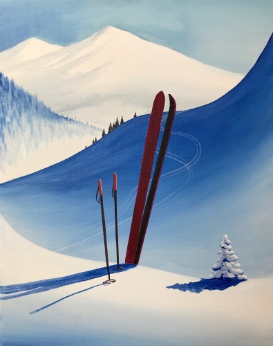 A Vintage Winter Skiing paint nite project by Yaymaker