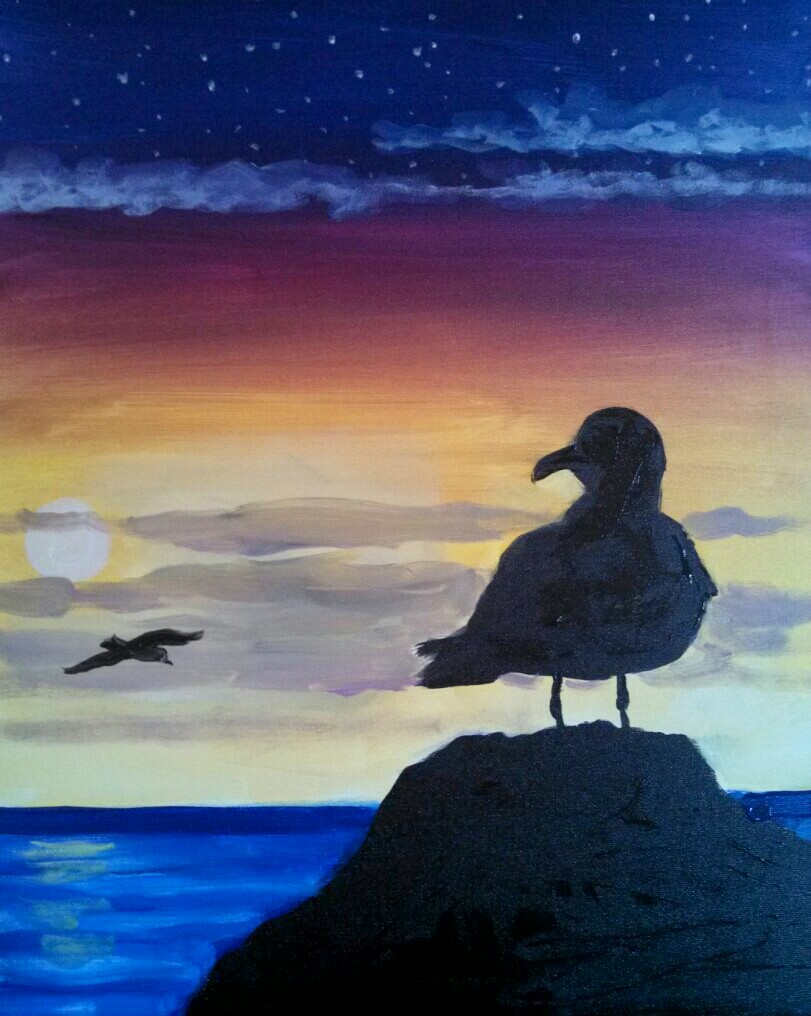 A Seagull at Sunset paint nite project by Yaymaker