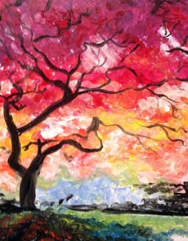 A Under the Red Tree paint nite project by Yaymaker
