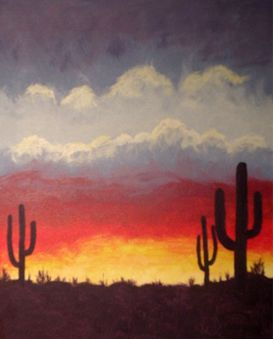 A Desert Sunset paint nite project by Yaymaker